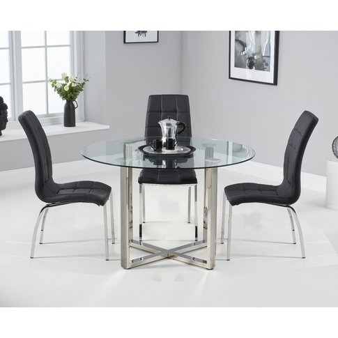 Vaso 120cm Round Glass Dining Table with Calgary Cha...