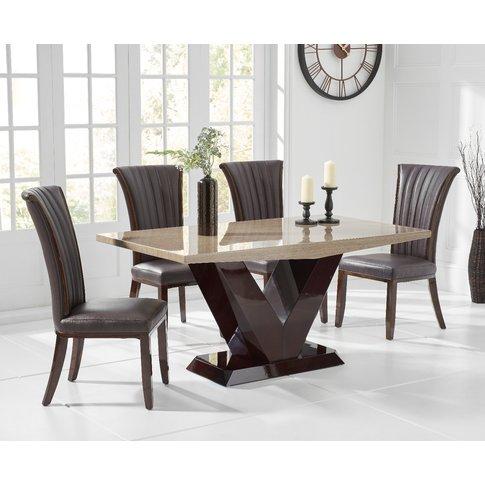 Verbier 160cm Brown V Pedestal Marble Dining Table W...
