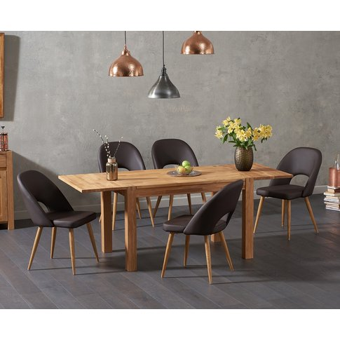 Verona 120cm Solid Oak Extending Dining Table With H...