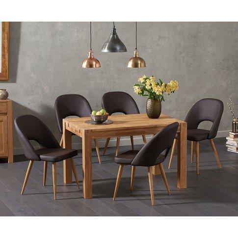 Verona 120cm Solid Oak Dining Table With Halifax Fau...
