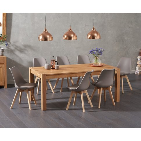 Verona 180cm Solid Oak Dining Table With Duke Faux L...