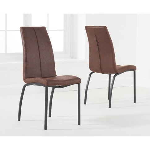 Noir Brown Fabric Antique Dining Chairs