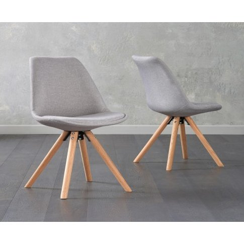 Oscar Light Grey Fabric Round Leg Dining Chairs