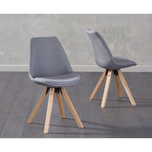 Oscar Dark Grey Fabric Square Leg Dining Chairs