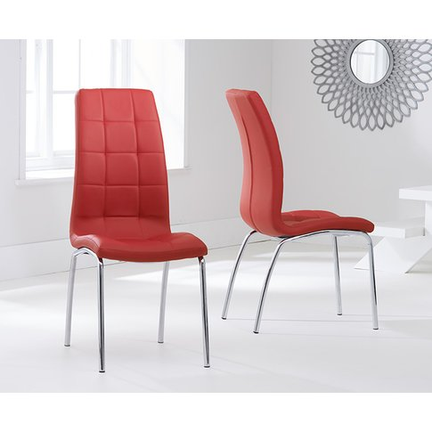Calgary Red Faux Leather Dining Chairs