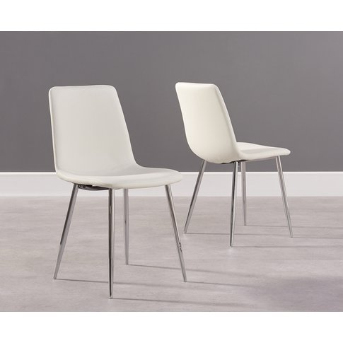 Helsinki White Faux Leather and Chrome Dining Chairs