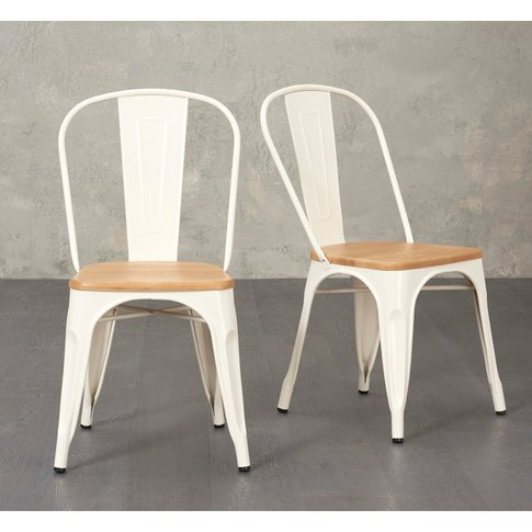 Tolix Industrial Style Oak And Cream Dining Chairs