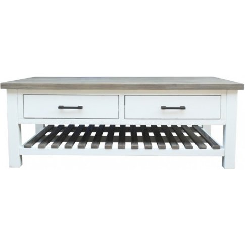 Albion - Coffee Table With Drawers - Distressed
