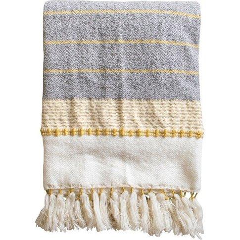 Nime Textured Cotton Throw In Ochre & Grey