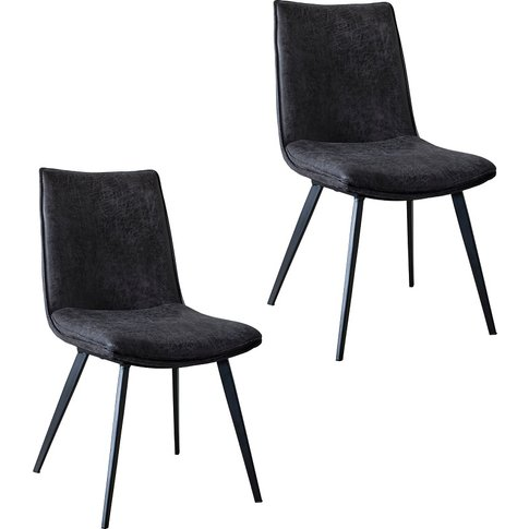 Theon Dining Chair In Anthracite, Set Of Two