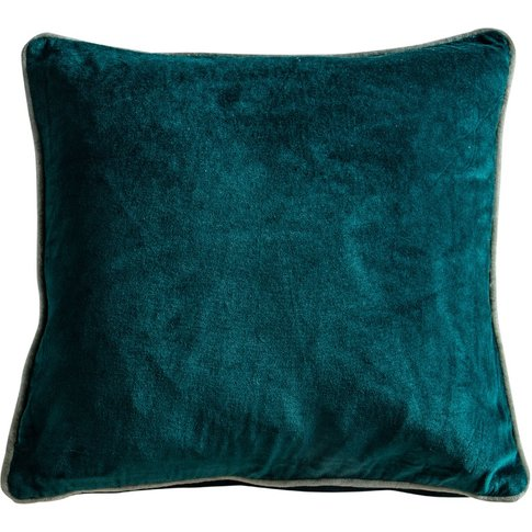 Cameron Cushion In Teal Washed Velvet