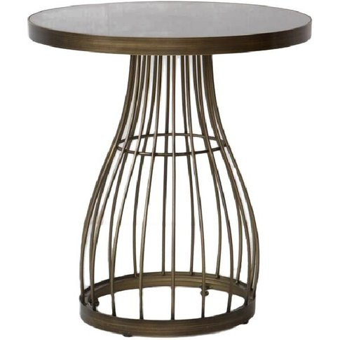 Vivien Side Table With Caged Bronzed Base