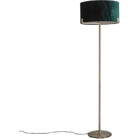 Priscilla Floor Lamp In Brushed Gold And Dark Green ...