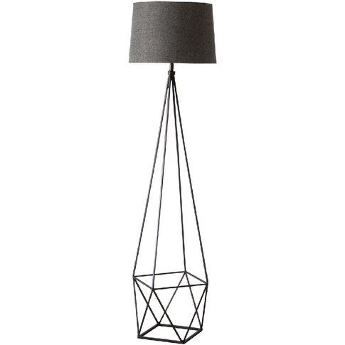 Jaxon Geometric Metal Floor Lamp In Brushed Bronze