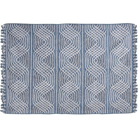 Opal Hand Woven Wool Rug In White And Blue