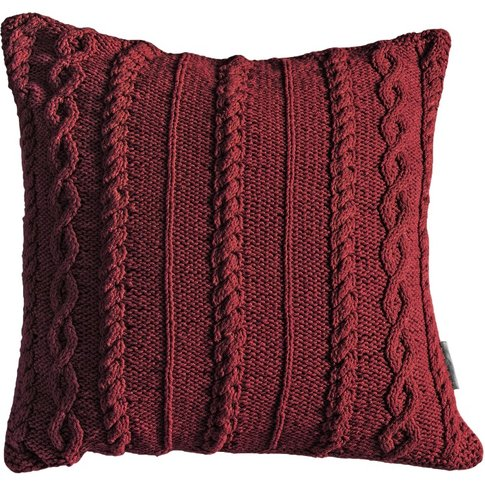 Annie Knitted Cushion In Red