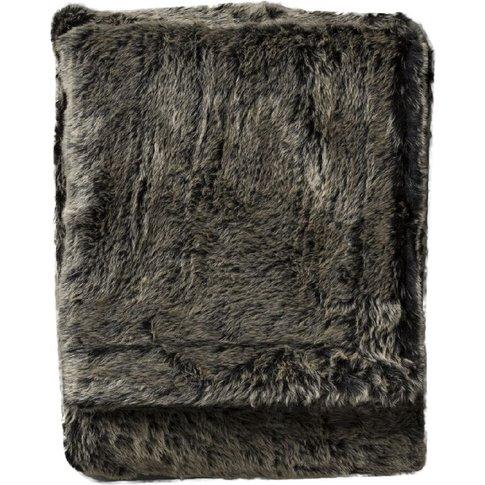 Lobo Faux Fur Throw In Mole