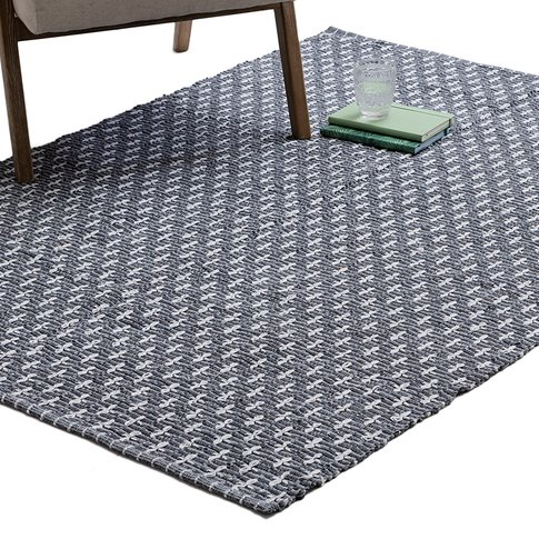Andrea Hand-Woven Diamond Pattern Rug In Charcoal
