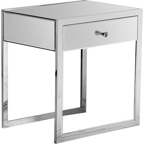Inna Mirrored One Drawer Side Table