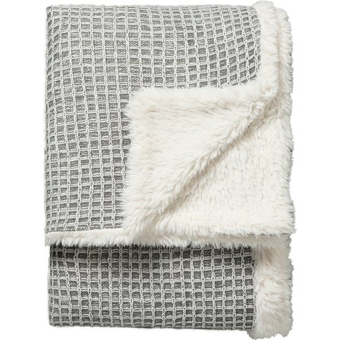 Hugo Waffle Knit Reversible Throw In Grey