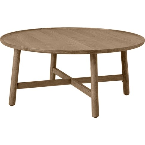 Noranda Oak Round Coffee Table In Grey