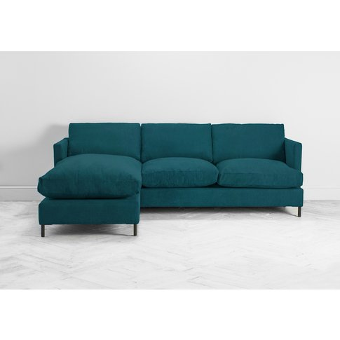 Justin Left Hand Chaise Sofa Bed In Steel Blue