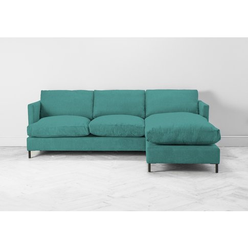 Justin Right Hand Chaise Sofa Bed In Turkish Blue
