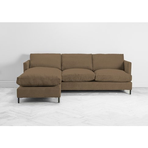 Justin Left Hand Chaise Sofa In Saddle Brown