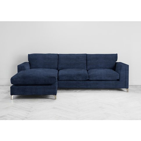 Chris Left Hand Chaise Sofa In Blue Lavender