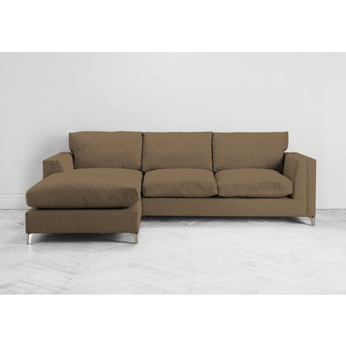 Chris Left Hand Chaise Sofa Bed In Saddle Brown
