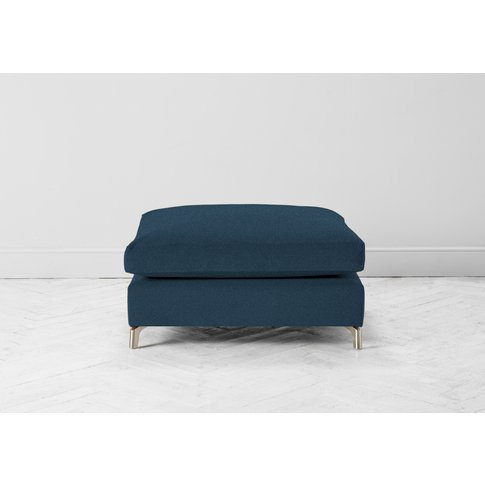 Chris Footstool In Oxford Blue