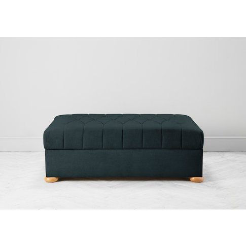 Hyde Buttoned Bed In A Box, Large In Denim Blue