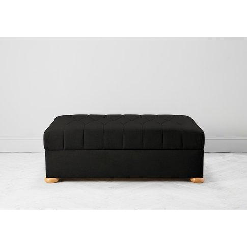 Hyde Buttoned Bed In A Box, Large In Obsidian Black