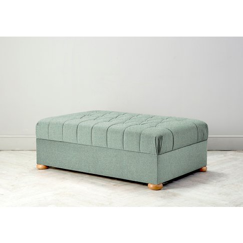 Hyde Buttoned Bed In A Box, Large In Thyme Green