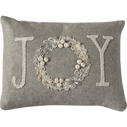 Embroidered Joy Natural Cushion