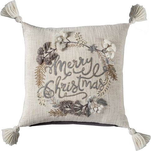 Merry Christmas Natural Tree Cushion