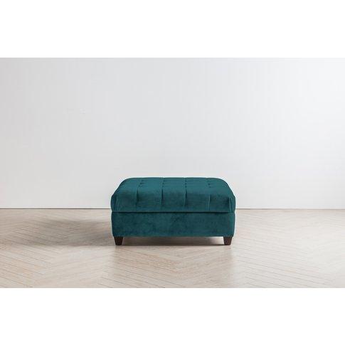 Lia Footstool In Steel Blue