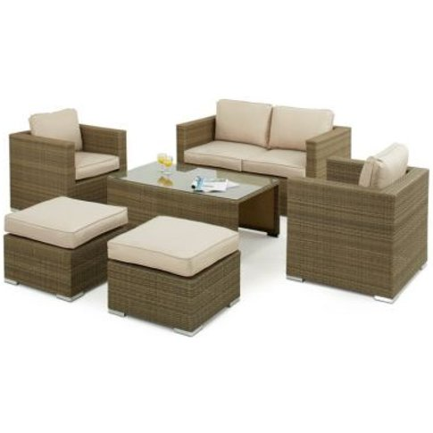 Tuscany 6 Piece 2 Seat Garden Sofa Set Brown