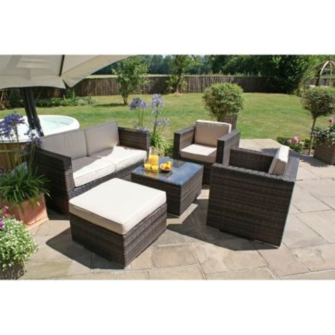 5 Piece 2 Seat Ice Bucket Garden Sofa Set Brown