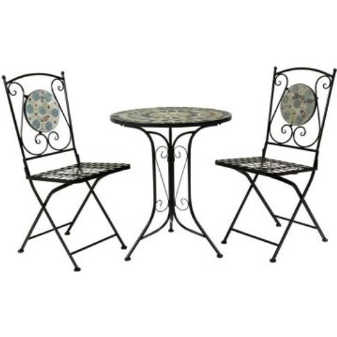 Mosaic Wrought Iron 3 Piece Garden Table Furniture S...