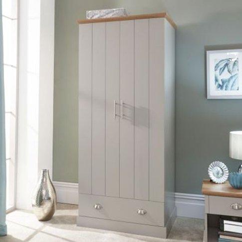 Kendal Wardrobe Grey & Oak 2 Door 1 Drawer