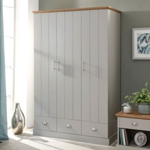 Kendal Wardrobe Grey & Oak 3 Door 3 Drawer