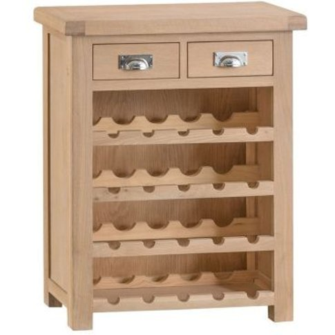 Monica Oak 2 Drawer Small Wine Cabinet