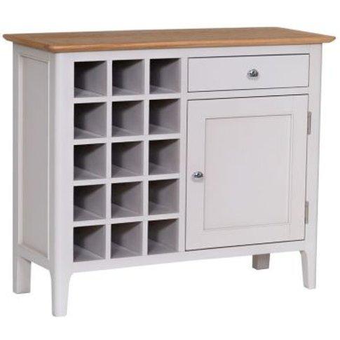 Necton Oak 1 Door 1 Drawer Wine Cabinet Grey
