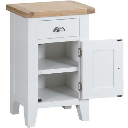 Lighthouse Small Cabinet Oak & White 1 Door 1 Drawer