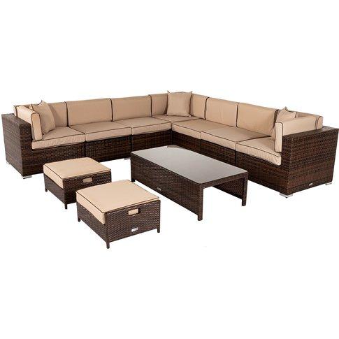 Rattan Garden Corner Sofa Set In Brown - Geneva