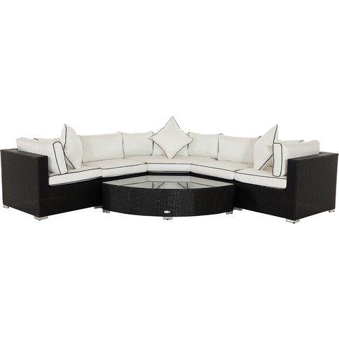 Rattan Garden Corner Sofa Set In Black & White - 6 Piece Angled Set - Florida