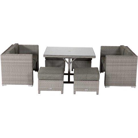 Rattan Garden Sofa Cube Set In Grey - Barcelona