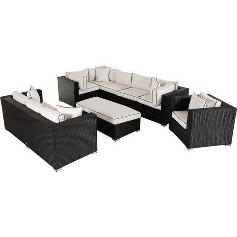 Rattan Garden Corner Sofa Set In Black - Corner Sofa...