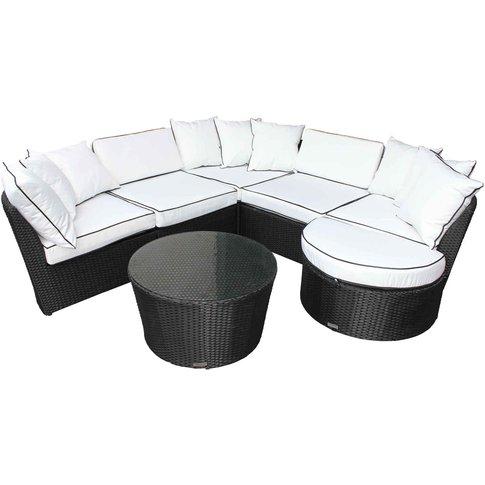 Rattan Garden Curved Corner Sofa Set In Black & Whit...